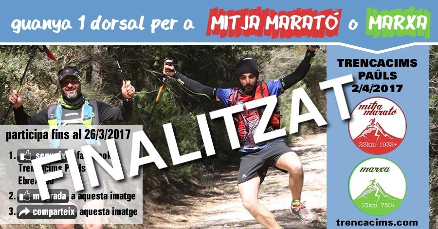 [finalitzat] Sorteig 1 dorsal: Mitja marató o Marxa TrencaCims Paüls del 2/4/2017