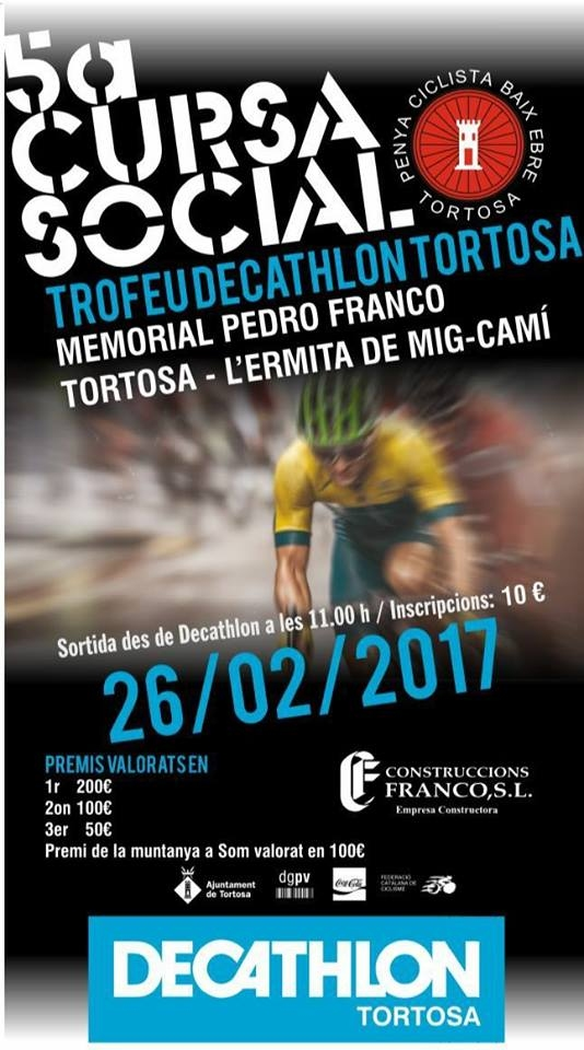 5a cursa social ciclisme Tortosa. Memorial Pedro Franco