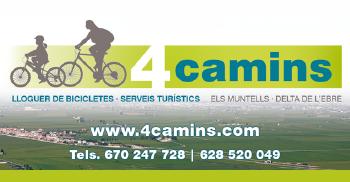 4 Camins: lloguer de bicicletes - serveis turístics / Els Muntells - delta de l´Ebre