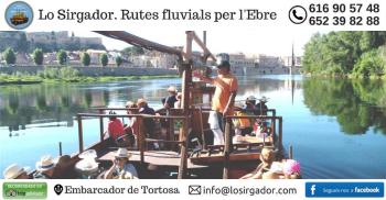 Lo Sirgador, llagut turístic. Activitats al riu Ebre i a la Via Verda