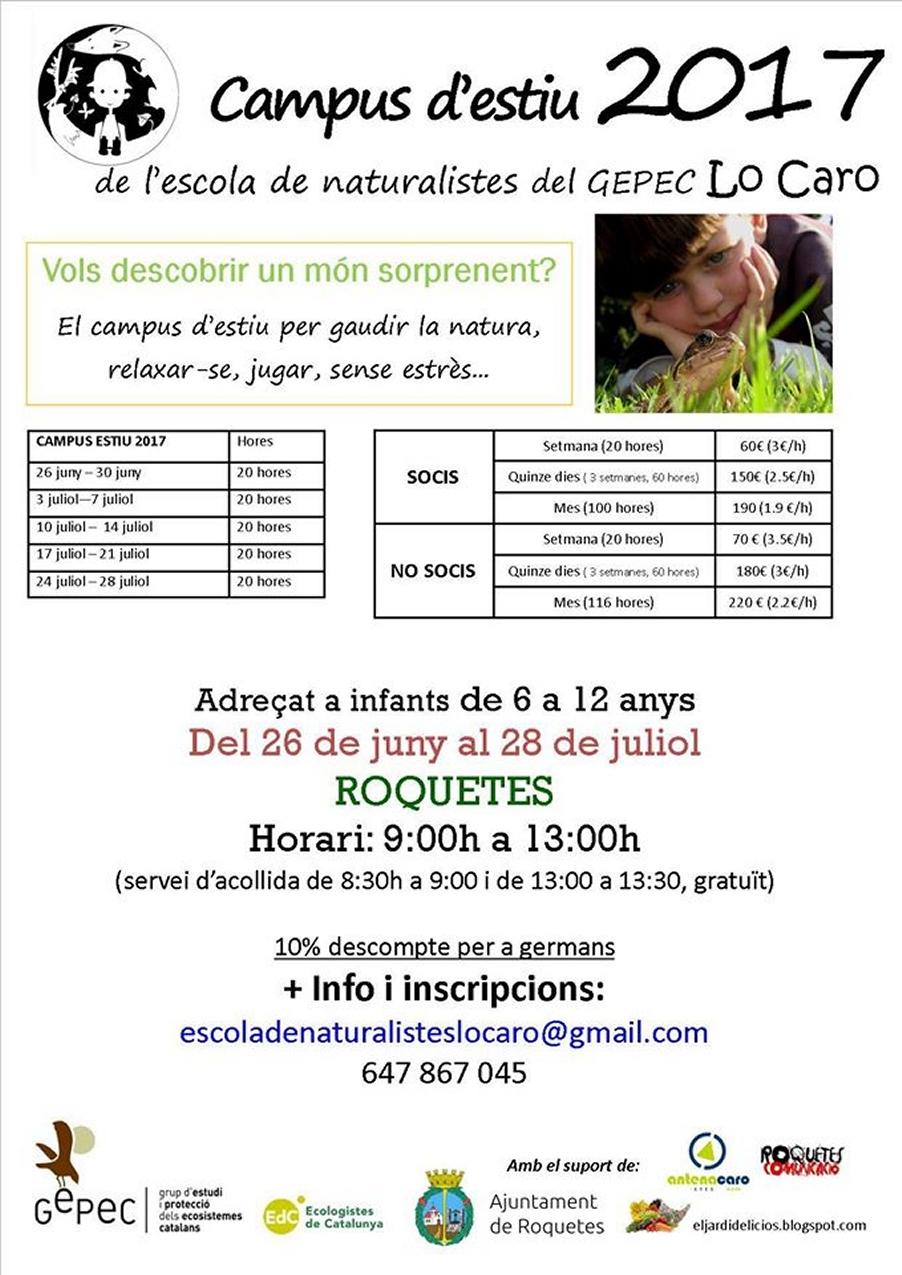 Campus d'estiu 2017 Escola de naturalistes del GEPEC Lo Caro