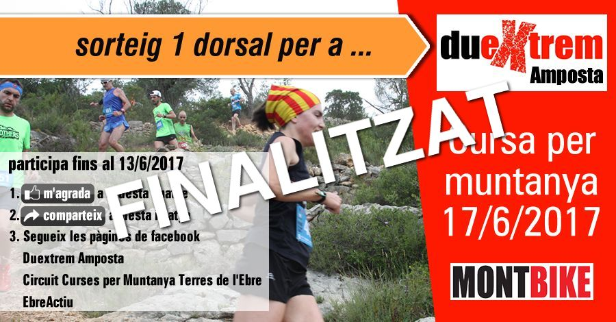 <p>sorteig 1 dorsal per al Trail Duextrem Amposta (17/6/2017)</p>