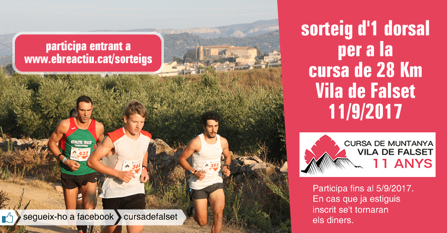 <p>Sorteig 1 dorsal per a la cursa de 28 Km Vila de Falset (11/9/2017)</p>