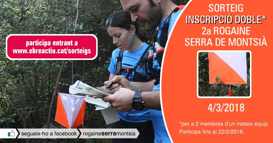 <p>Sorteig d&rsquo;una inscripció doble per a la 2a Rogaine serra de Montsià (Sant Carles de la Ràpita, 4/3/2018)</p>