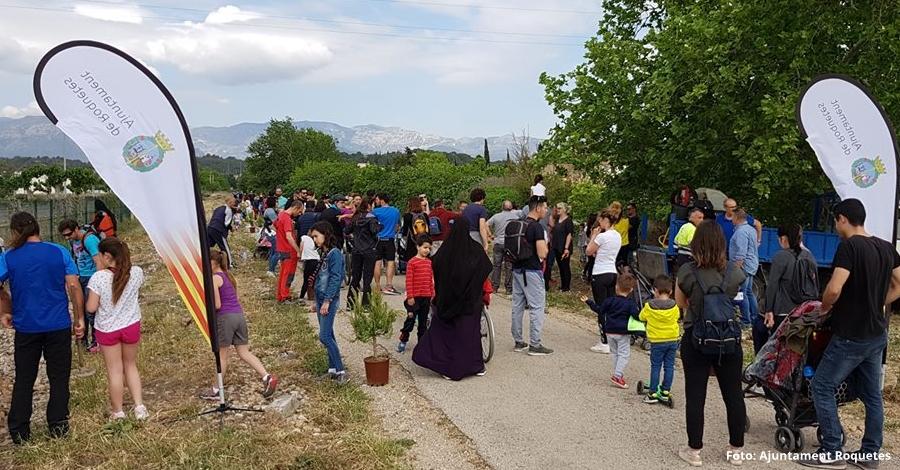 Roquetes celebra la Festa de l'Arbre plantant pins pinyoners a la Via Verda