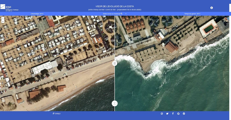 Un visor de l´Institut Cartogràfic i Geològic de Catalunya permet comprovar els danys del temporal a tot el litoral