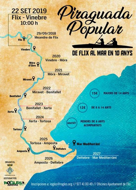 Piraguada popular de Flix al mar en 10 anys: Flix-Vinebre