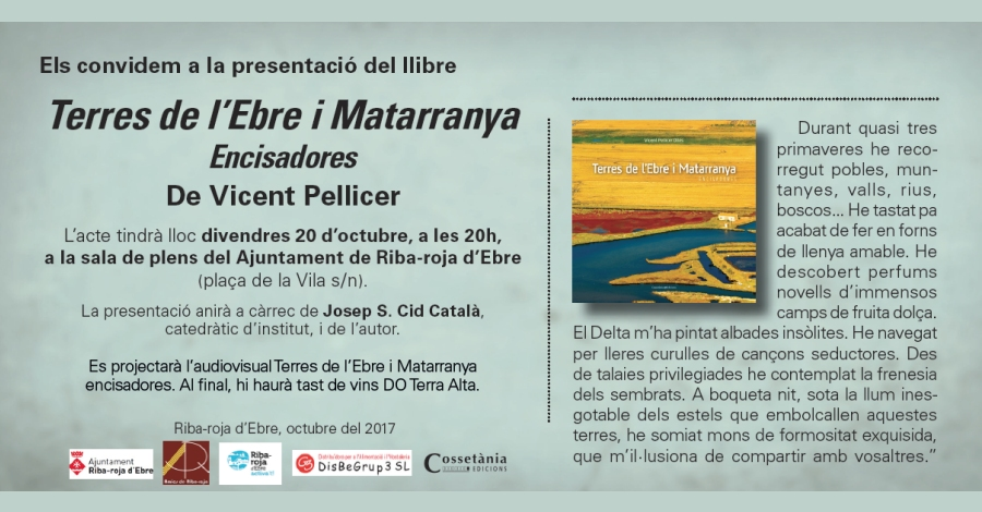 Presentació del llibre Terres de l'Ebre i Matarranya Encisadores de Vicent Pellicer