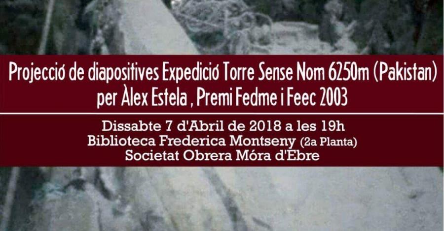 Projecció de diapositives Expedició Torre Sense Nom 6250m (Pakistan)