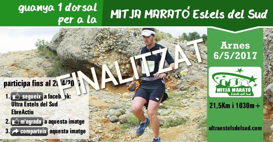 Sorteig 1 dorsal: Mitja marató Estels del Sud (21,5 Km i 1030m+) del 6/5/2017